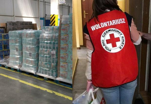 Polski Czerwony Krzyż pośredniczy w roznoszeniu darów/screen Facebook @Polski Czerwony Krzyż (PCK)