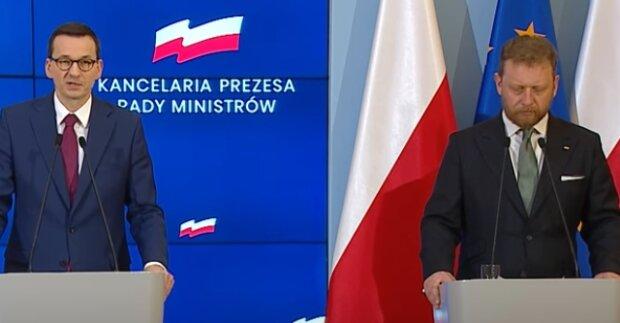 Łukasz Szumowski i Mateusz Morawiecki. Źródło: Youtube
