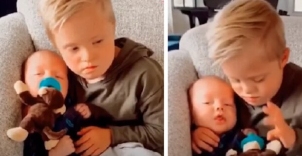 Welles, brat na medal. Nagranie z chłopcem tulącym młodszego braciszka do snu, robi wrażenie