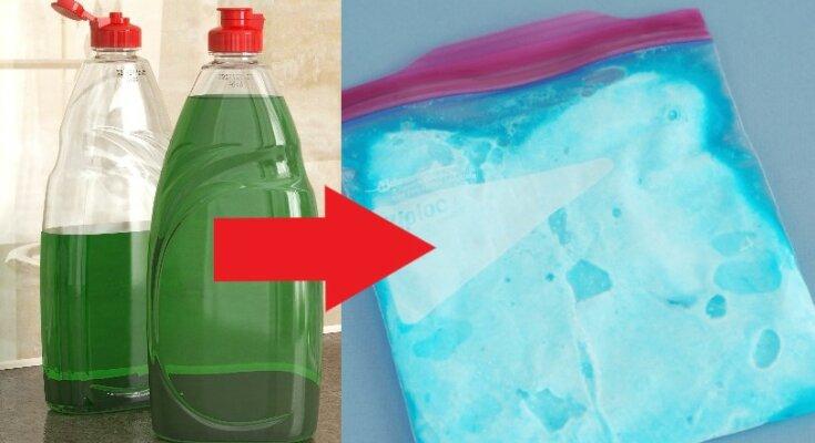 Po co mrozi się płyn do mycia naczyń? Spróbuj sam, a nietypowe zastosowanie popularnego specyfiku mocno Cię zaskoczy