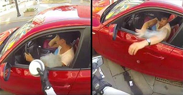 Kobieta wyrzuca z samochodu śmieci przez okno. Widząca to motocyklistka udziela jej bezcennej lekcji