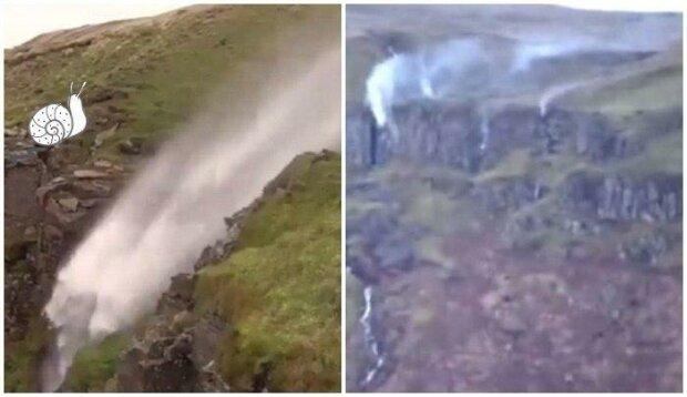 """Wodospad """"stanął do góry nogami"""". Niezwykłe zjawisko zachwyciło internautów"""