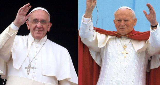 Papież Franciszek i Jan Paweł II. Źródło: tvp.pl