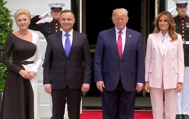 Melania Trump, Agata Duda/screen Youtube @VOA News