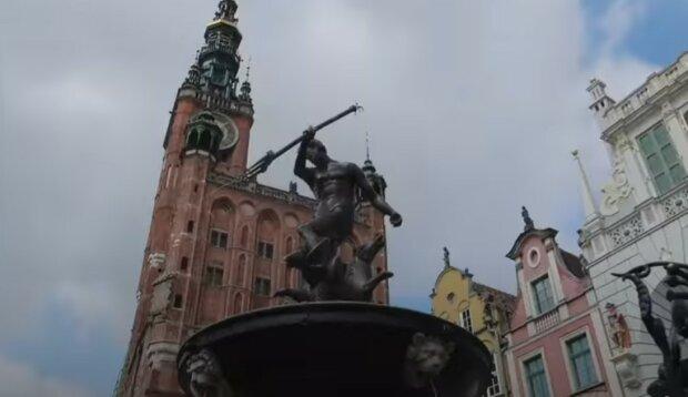 Gdańsk fontanna Neptuna screen YT