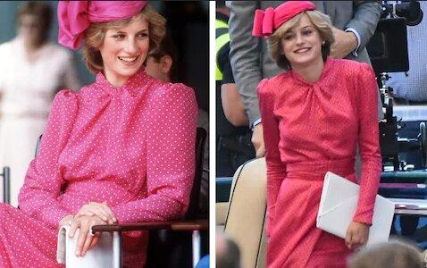 """Emma Corrin jako księżna Diana. Zdjęcia z planu czwartego sezonu """"The Crown"""". Podobizna jest oszałamiająca"""