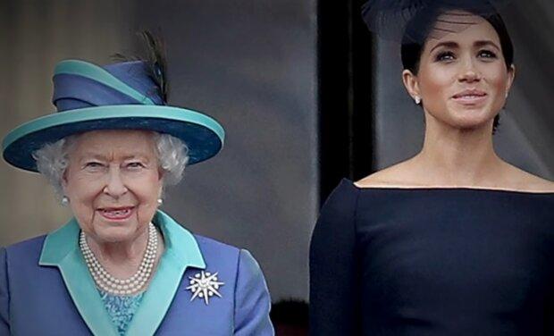 Meghan Markle i królowa Elżbieta II. Źródło: Youtube Entertainment Tonight